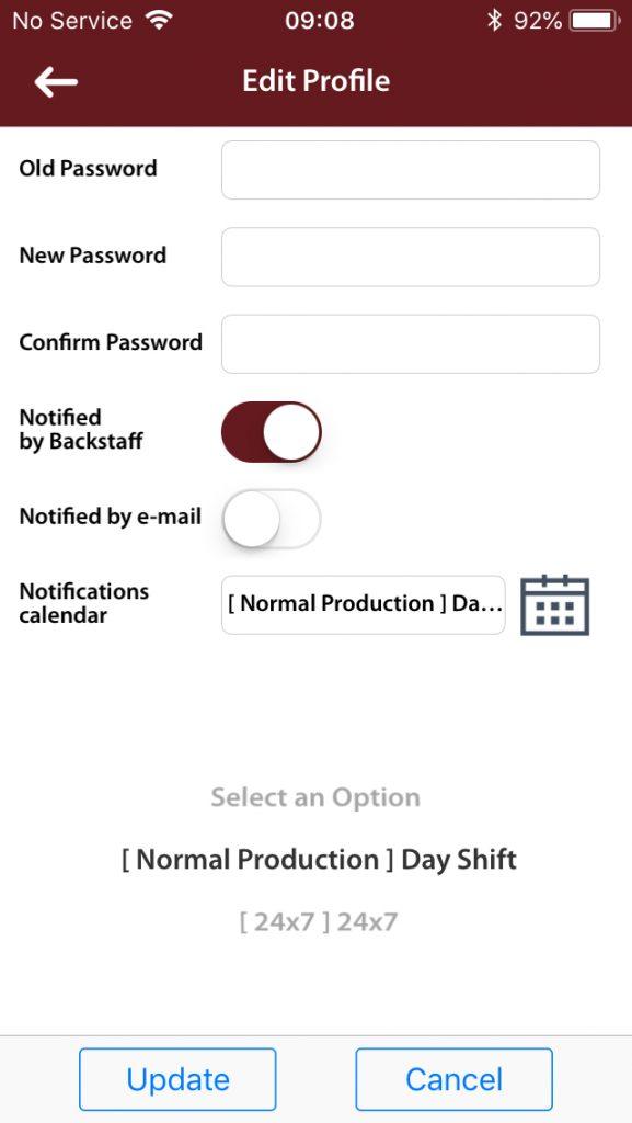 BackStaff Schedule Selection